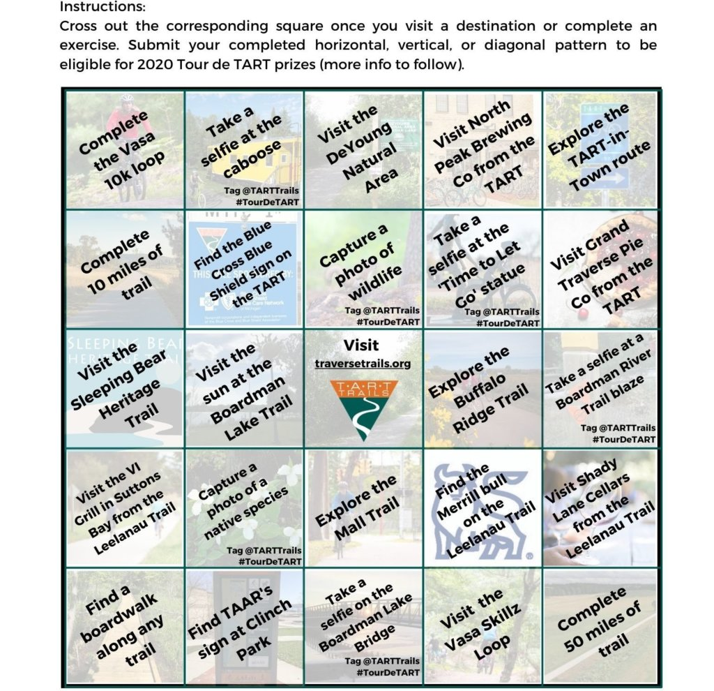 Tour de TART 2020 Bingo Card